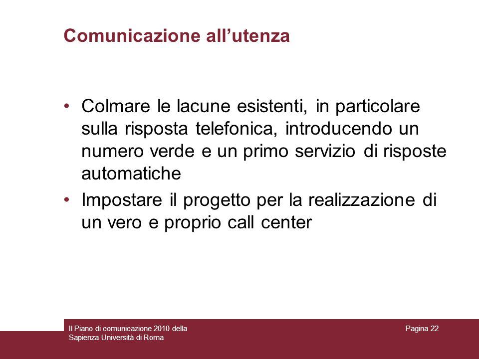 Comunicazione all'utenza