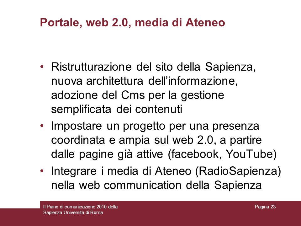 Portale, web 2.0, media di Ateneo