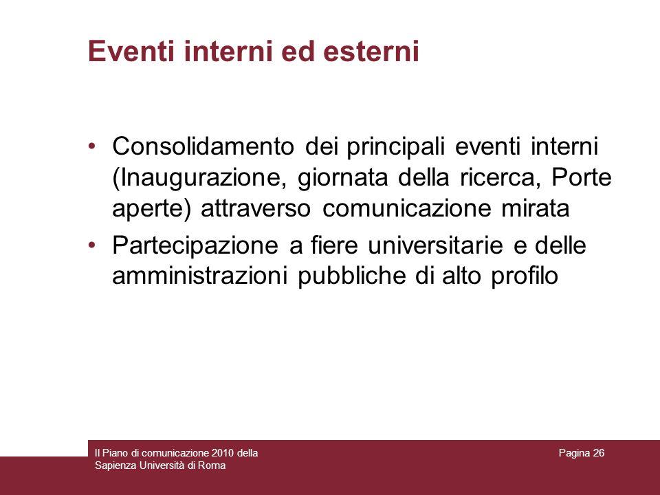 Eventi interni ed esterni