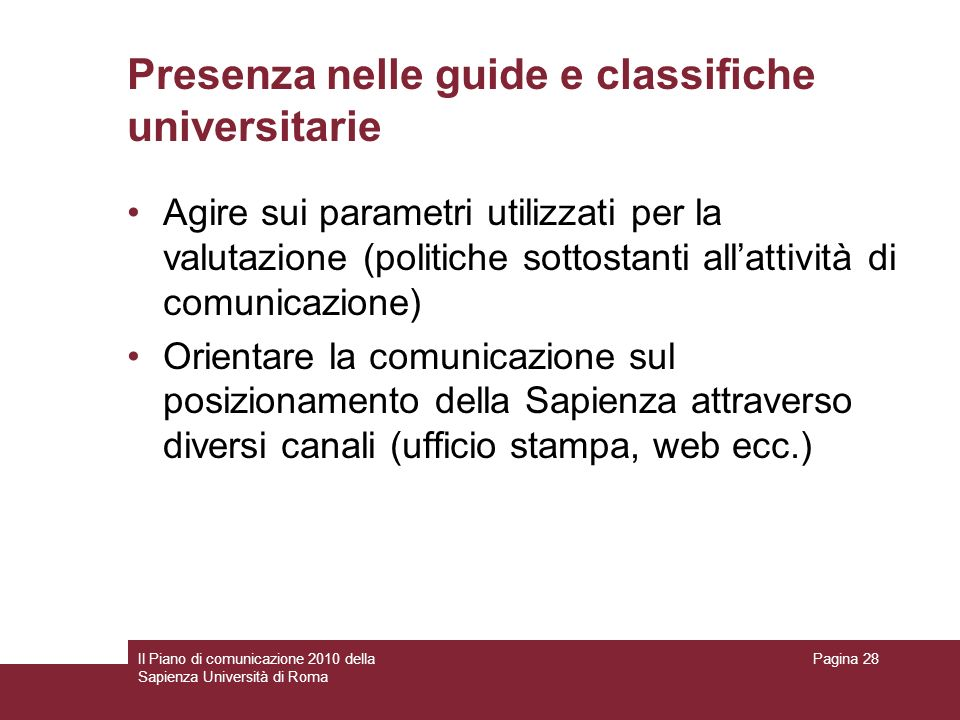 Presenza nelle guide e classifiche universitarie