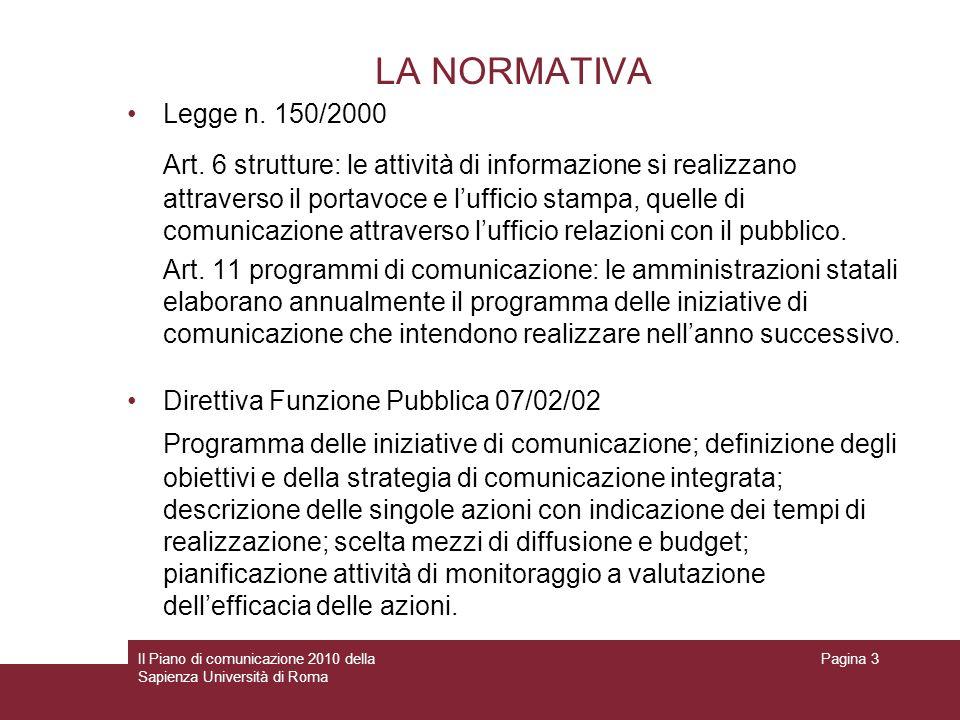 LA NORMATIVA Legge n. 150/2000.