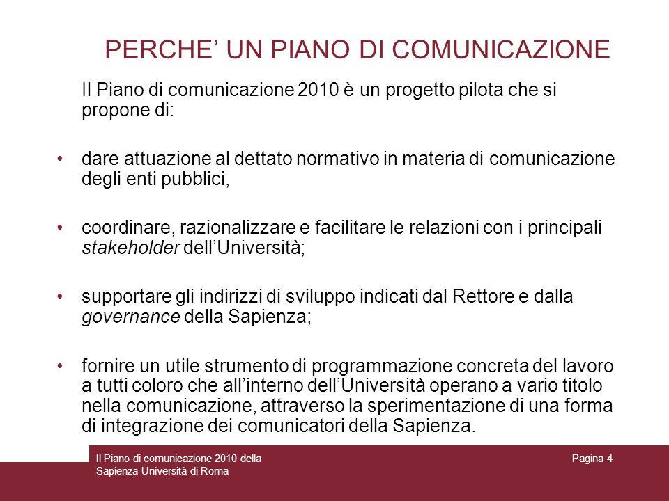 PERCHE' UN PIANO DI COMUNICAZIONE