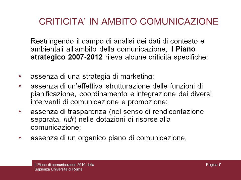 CRITICITA' IN AMBITO COMUNICAZIONE