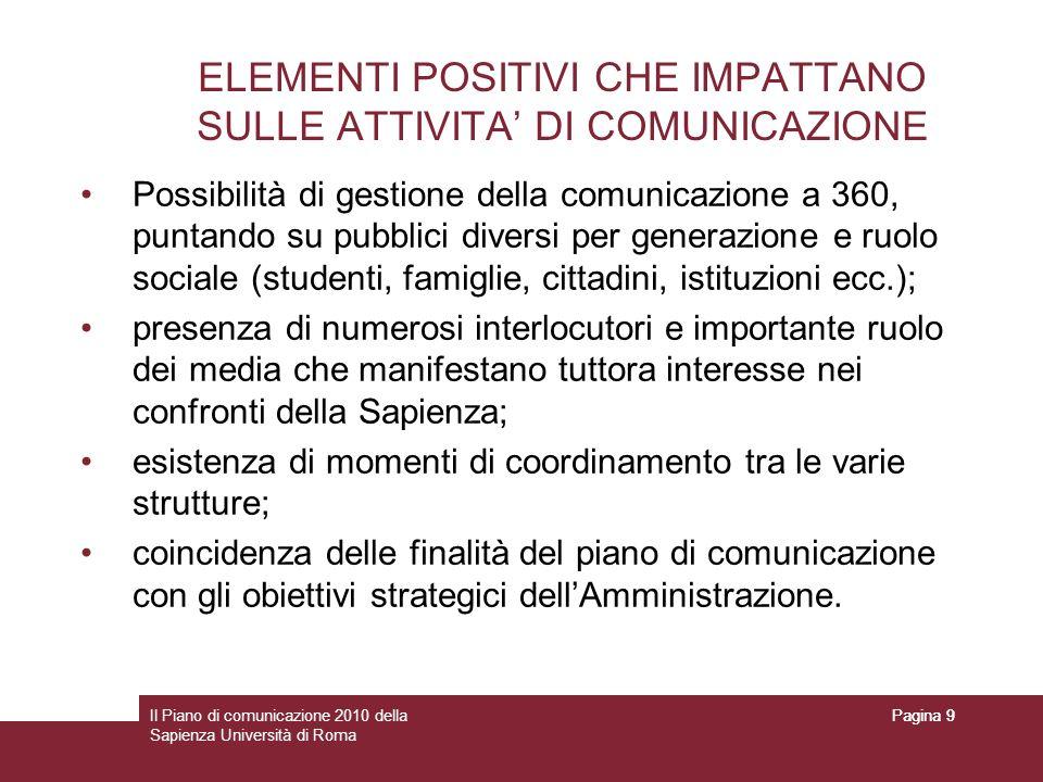 ELEMENTI POSITIVI CHE IMPATTANO SULLE ATTIVITA' DI COMUNICAZIONE