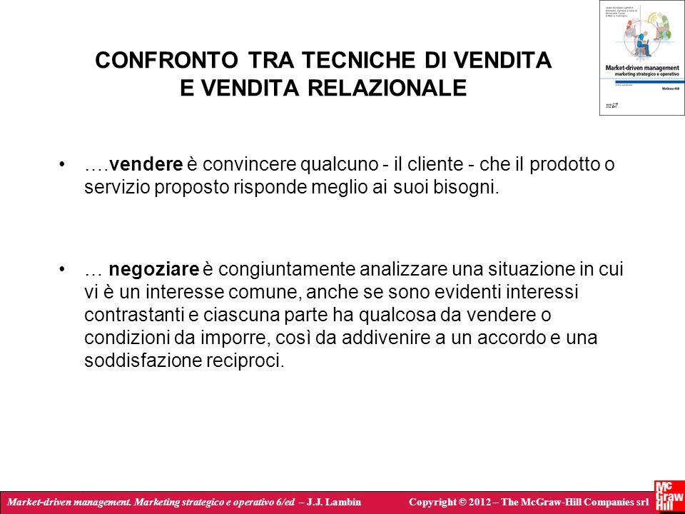 CONFRONTO TRA TECNICHE DI VENDITA E VENDITA RELAZIONALE