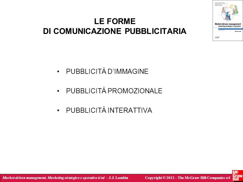 LE FORME DI COMUNICAZIONE PUBBLICITARIA