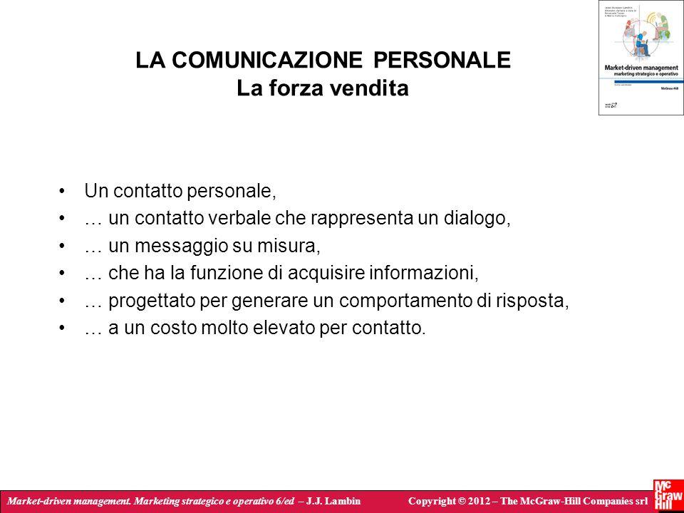 LA COMUNICAZIONE PERSONALE La forza vendita