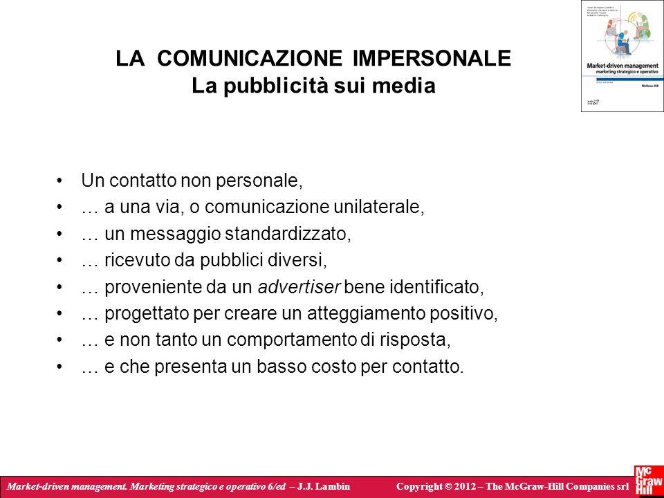 LA COMUNICAZIONE IMPERSONALE La pubblicità sui media