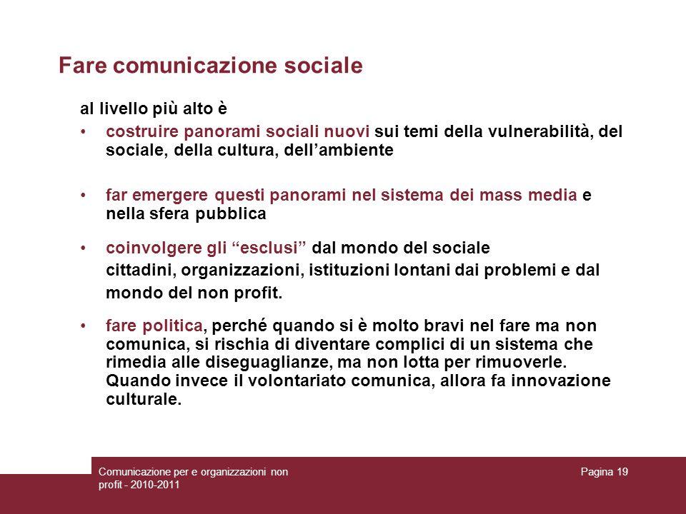 Fare comunicazione sociale