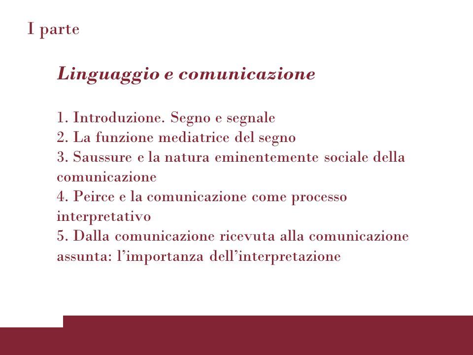 I parte Linguaggio e comunicazione 1. Introduzione. Segno e segnale 2