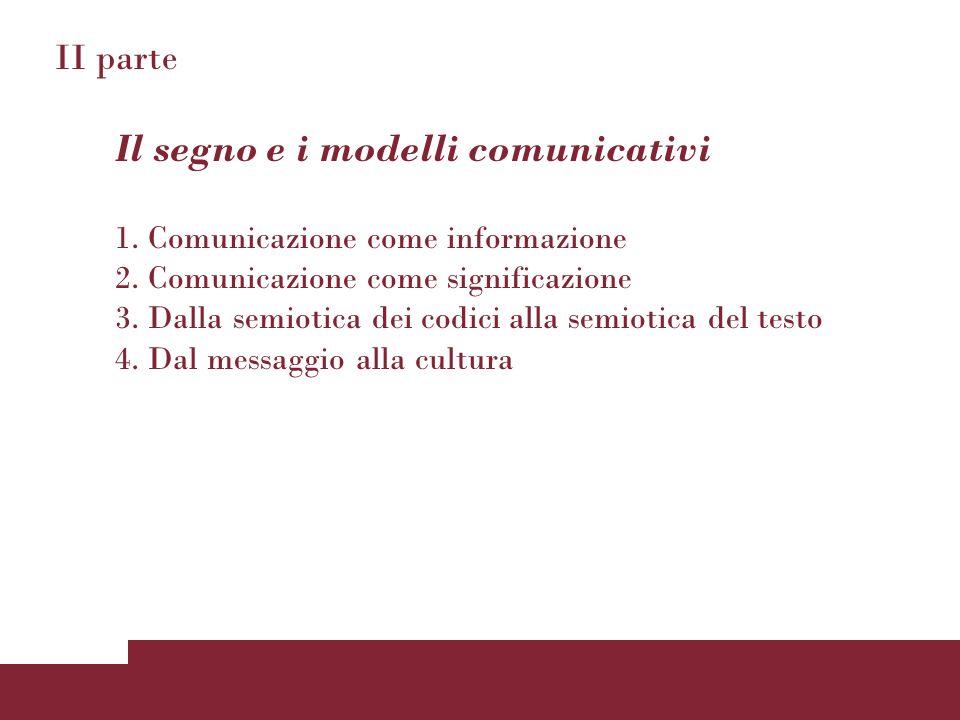 II parte Il segno e i modelli comunicativi 1