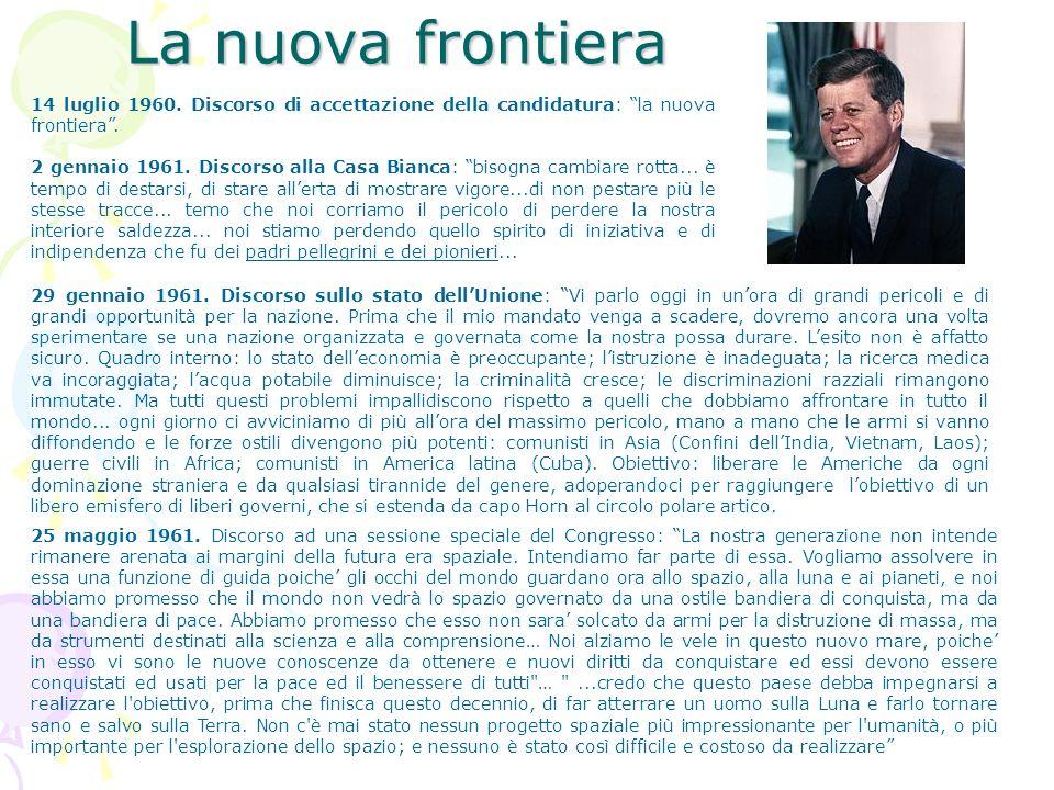 La nuova frontiera14 luglio 1960. Discorso di accettazione della candidatura: la nuova frontiera .