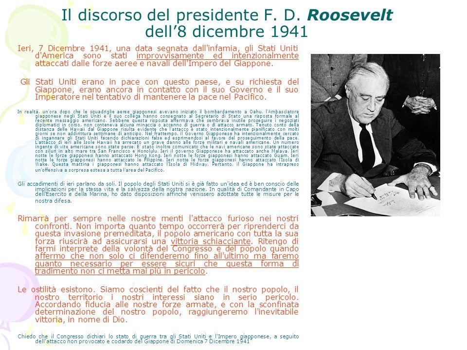 Il discorso del presidente F. D. Roosevelt dell'8 dicembre 1941