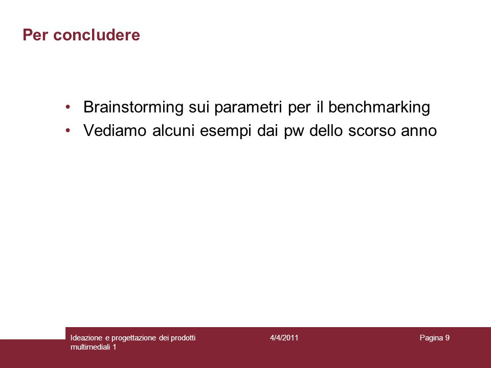 Brainstorming sui parametri per il benchmarking