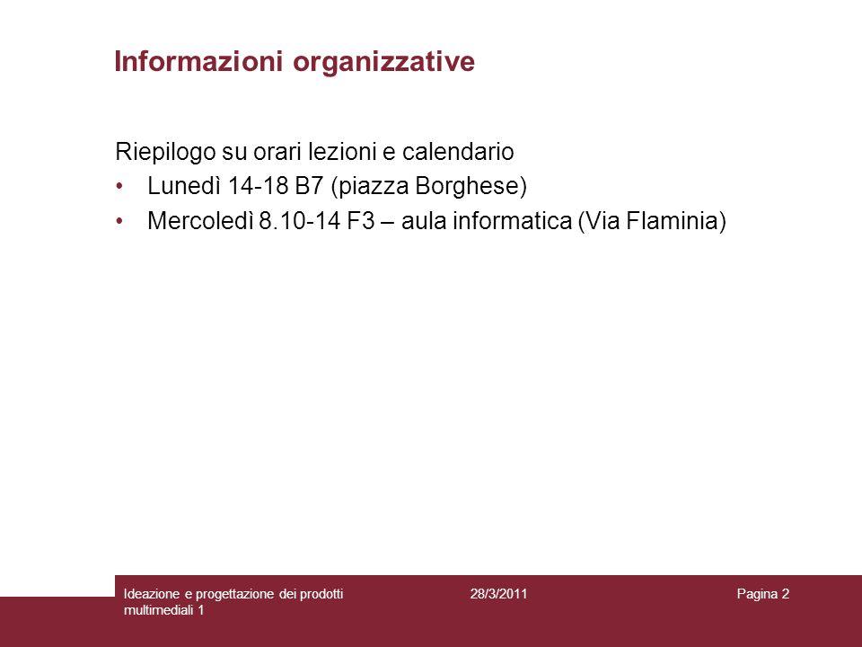 Informazioni organizzative