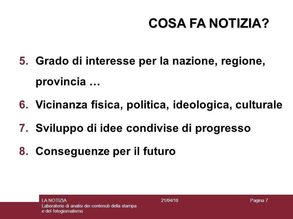 COSA FA NOTIZIA Grado di interesse per la nazione, regione, provincia … Vicinanza fisica, politica, ideologica, culturale.