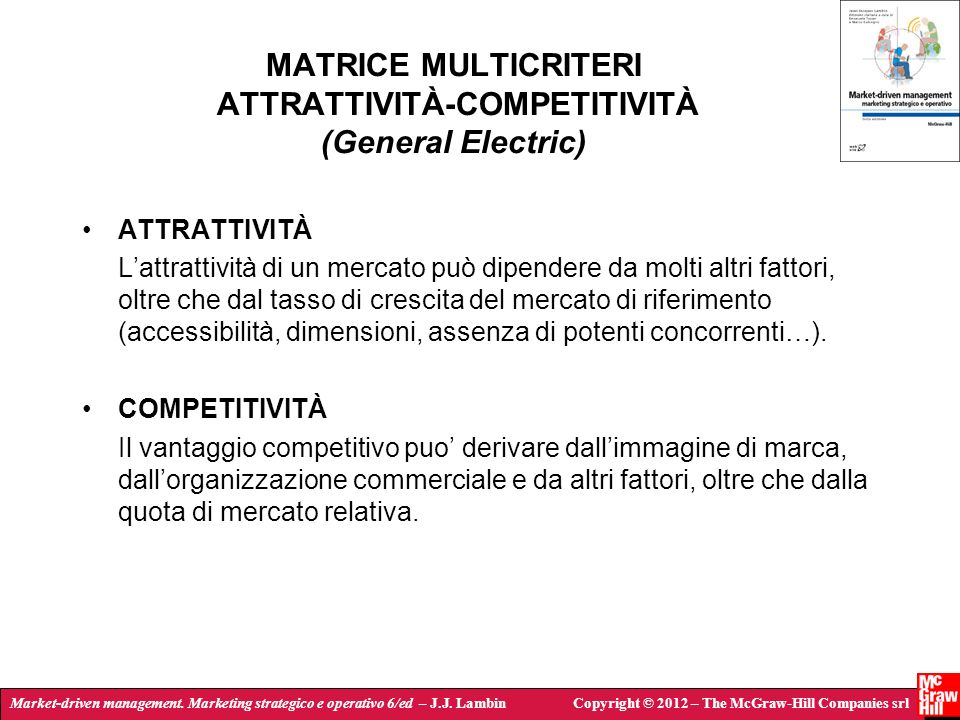 MATRICE MULTICRITERI ATTRATTIVITÀ-COMPETITIVITÀ (General Electric)