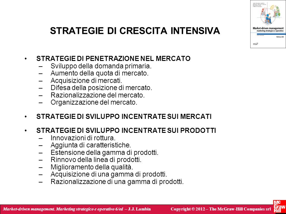 STRATEGIE DI CRESCITA INTENSIVA