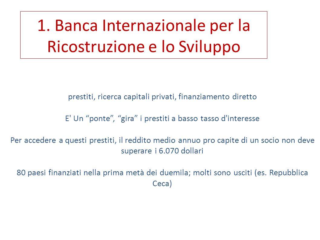 1. Banca Internazionale per la Ricostruzione e lo Sviluppo
