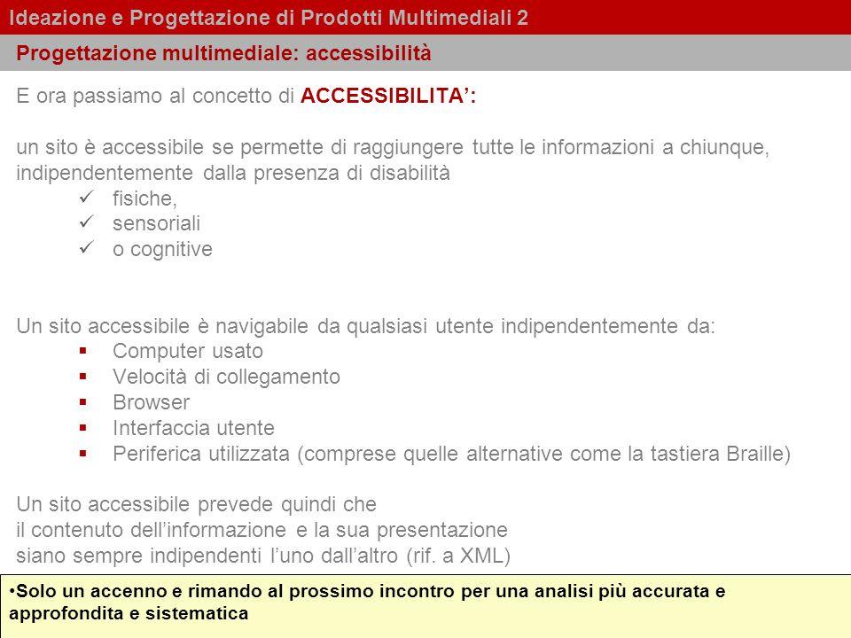 Progettazione multimediale: accessibilità