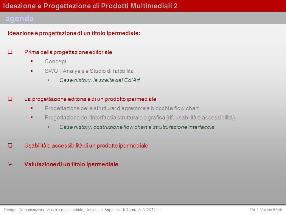 agenda Ideazione e progettazione di un titolo ipermediale:
