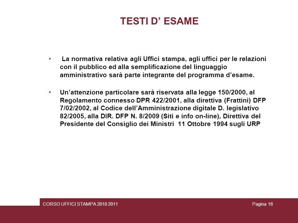 TESTI D' ESAME