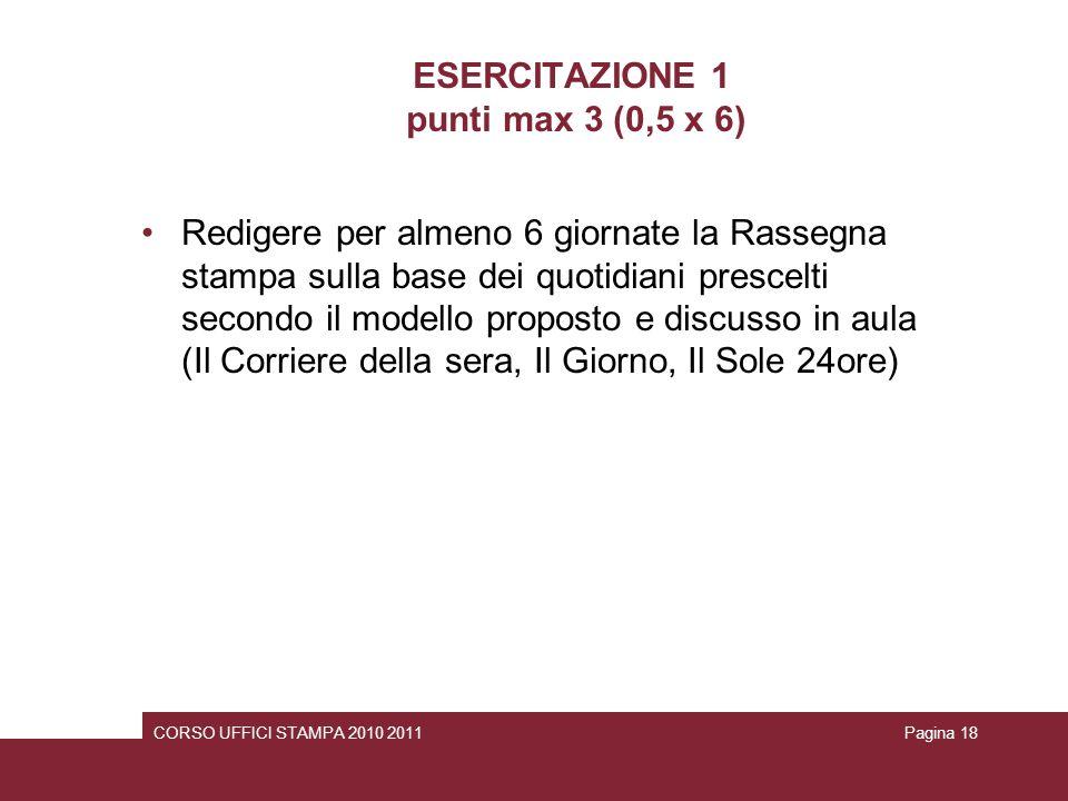 ESERCITAZIONE 1 punti max 3 (0,5 x 6)