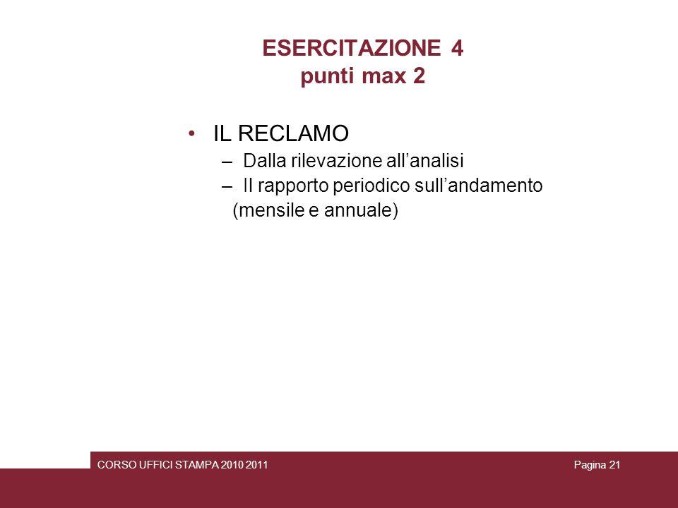 ESERCITAZIONE 4 punti max 2
