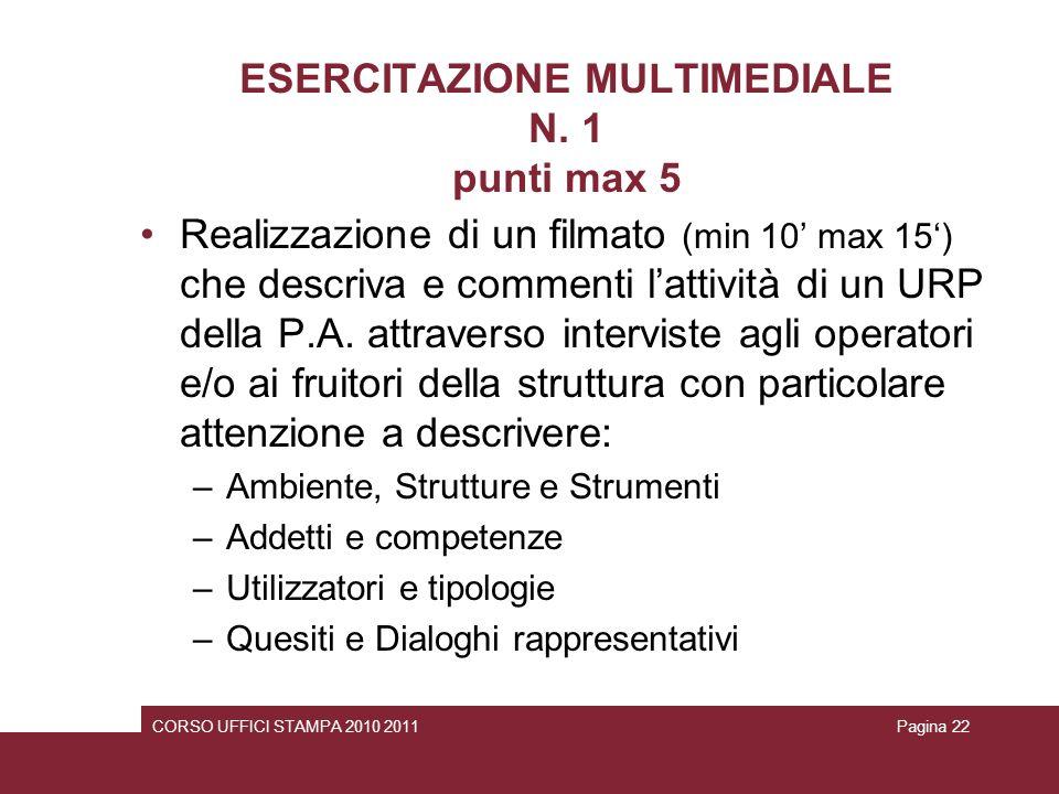 ESERCITAZIONE MULTIMEDIALE N. 1 punti max 5