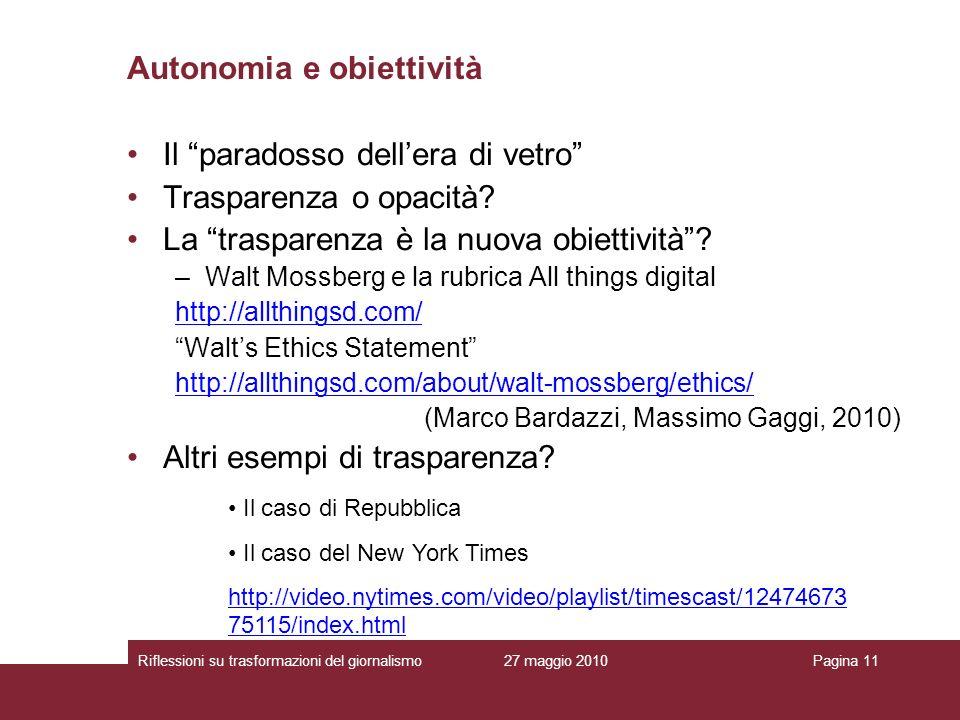 Autonomia e obiettività