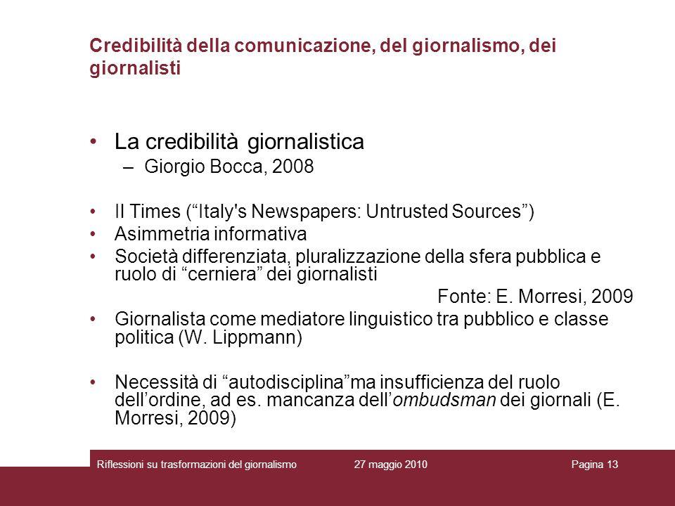 Credibilità della comunicazione, del giornalismo, dei giornalisti
