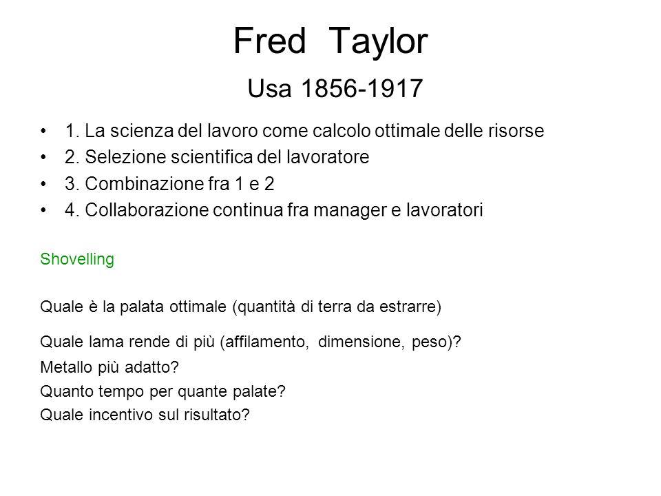 Fred Taylor Usa 1856-1917 1. La scienza del lavoro come calcolo ottimale delle risorse. 2. Selezione scientifica del lavoratore.