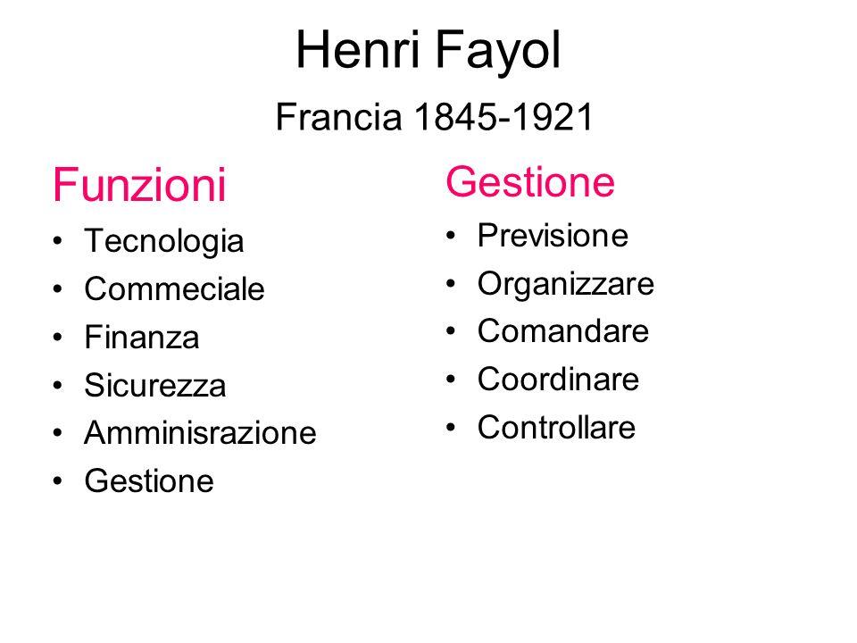 Henri Fayol Francia 1845-1921 Funzioni Gestione Previsione Tecnologia