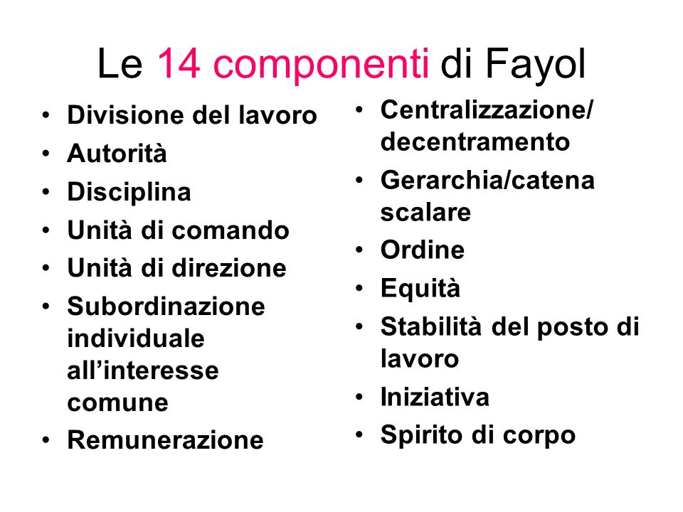 Le 14 componenti di Fayol Centralizzazione/ decentramento