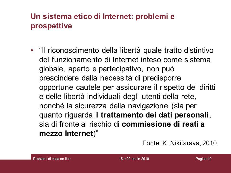 Un sistema etico di Internet: problemi e prospettive