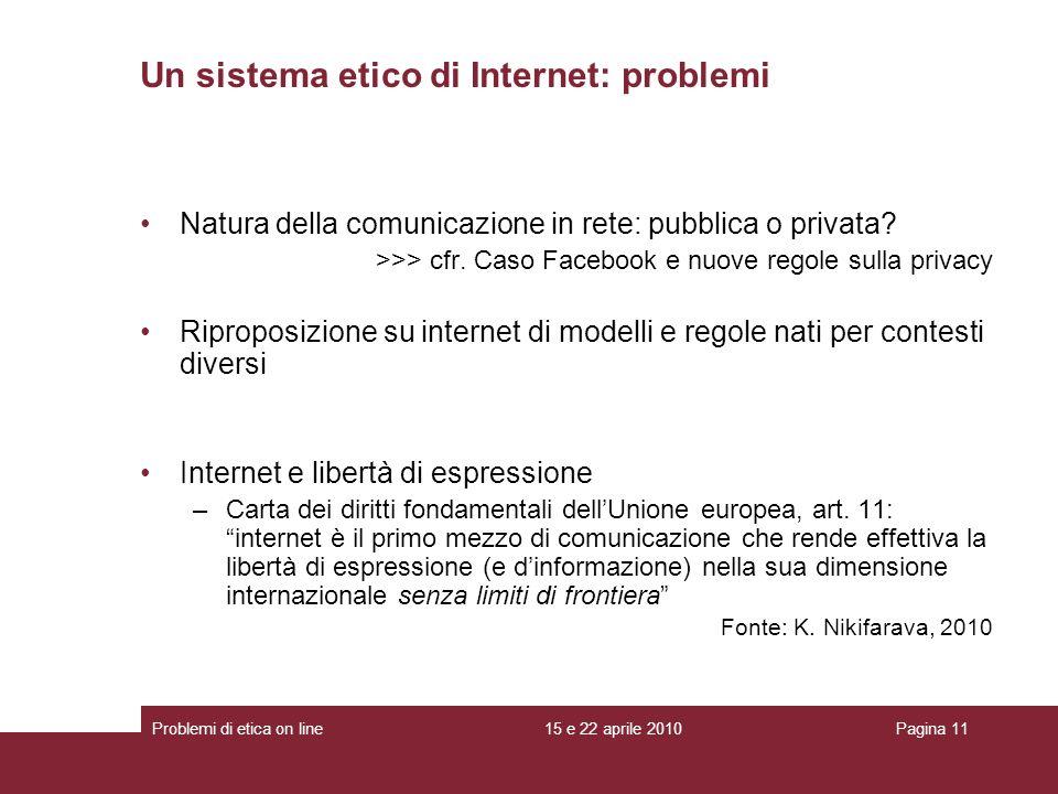 Un sistema etico di Internet: problemi