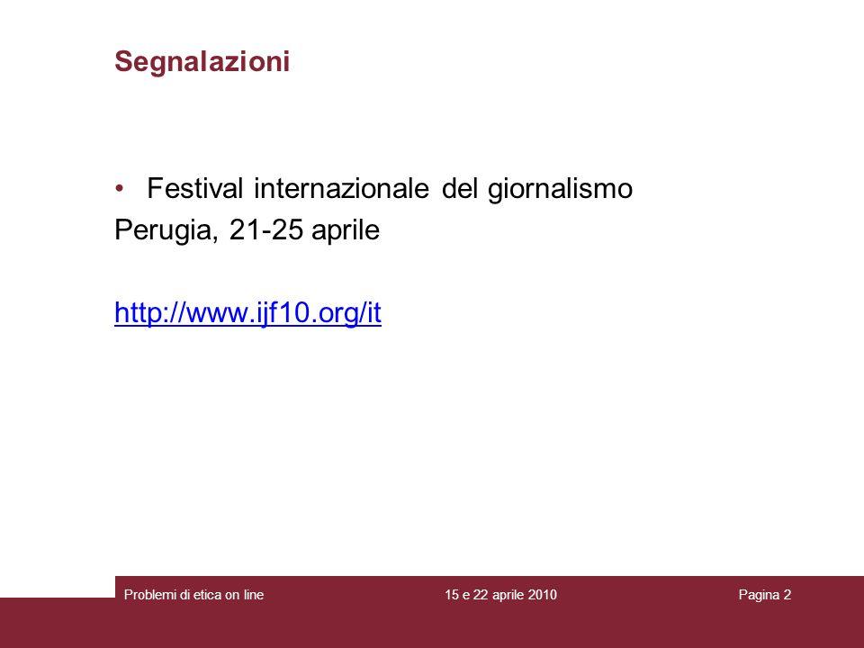Festival internazionale del giornalismo Perugia, 21-25 aprile