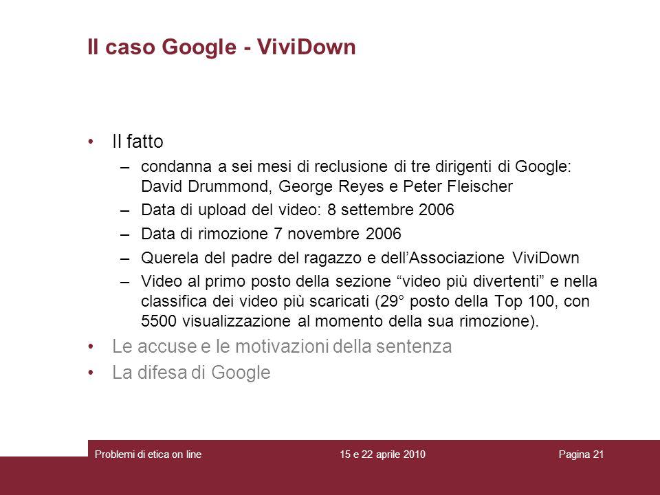 Il caso Google - ViviDown