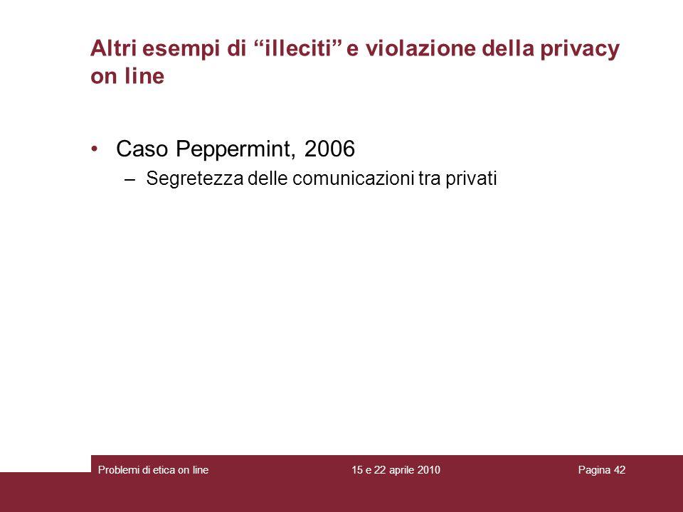 Altri esempi di illeciti e violazione della privacy on line