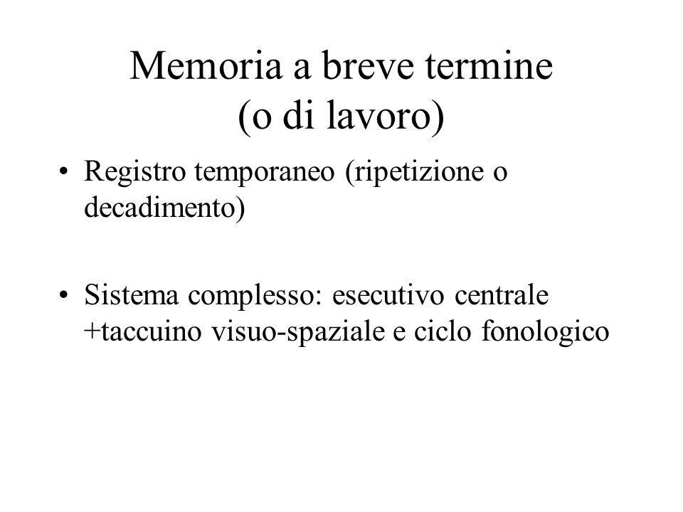 Memoria a breve termine (o di lavoro)