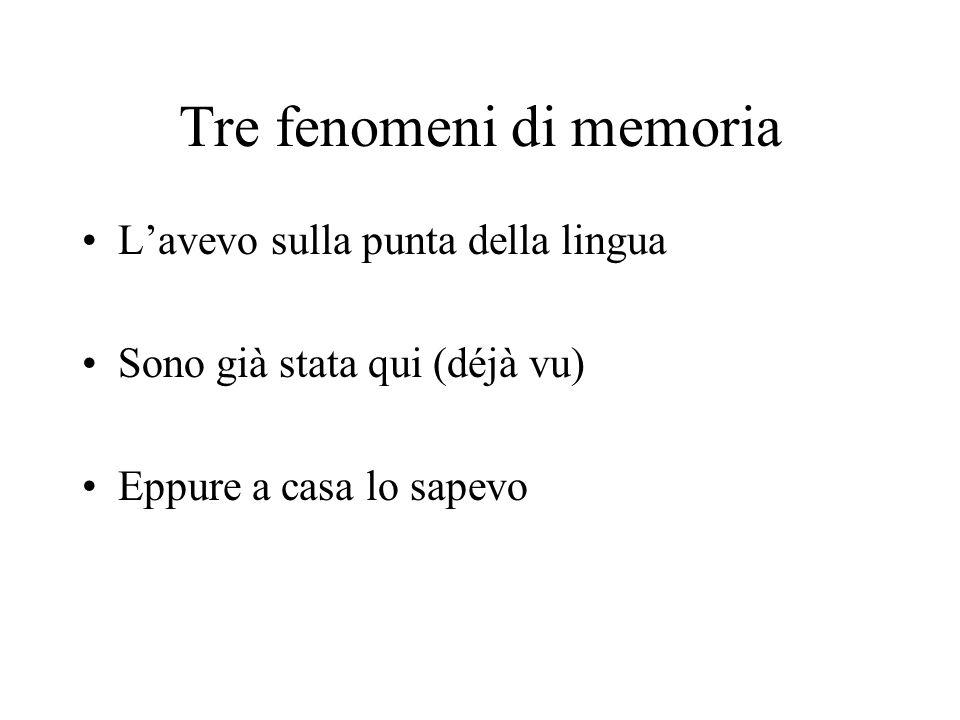 Tre fenomeni di memoria