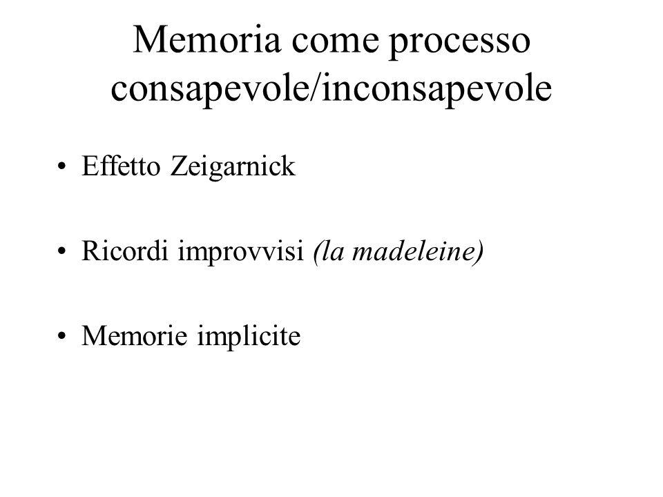 Memoria come processo consapevole/inconsapevole