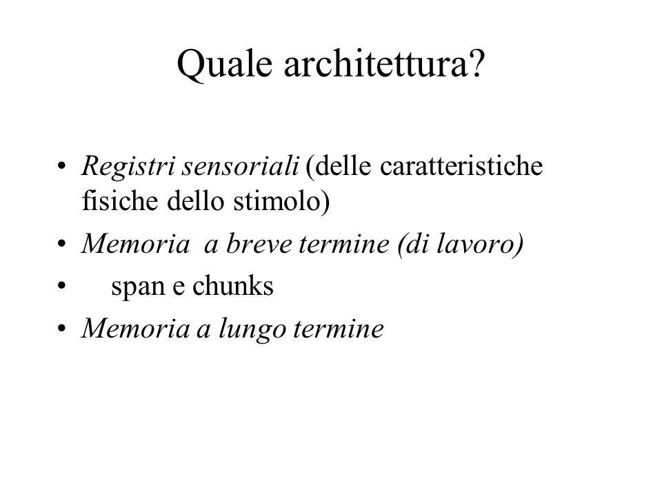Quale architettura Registri sensoriali (delle caratteristiche fisiche dello stimolo) Memoria a breve termine (di lavoro)