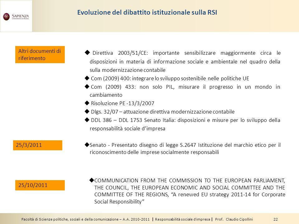 Evoluzione del dibattito istituzionale sulla RSI