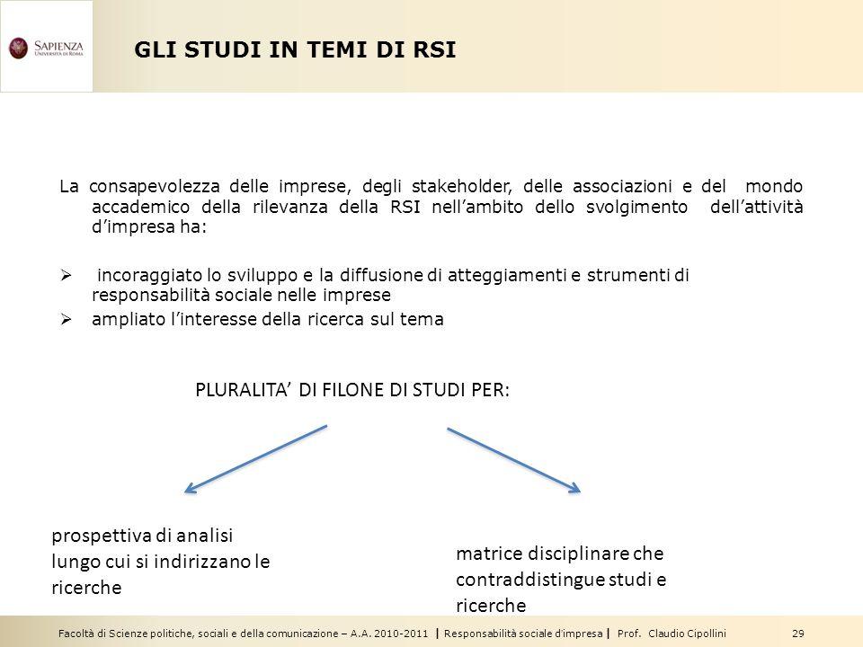 PLURALITA' DI FILONE DI STUDI PER: