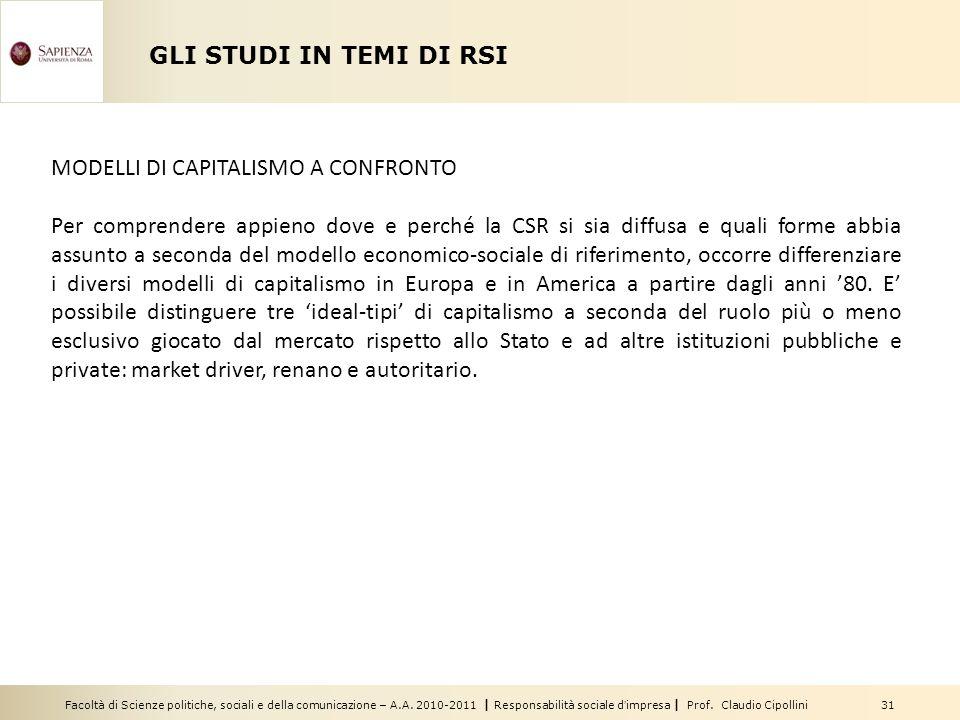 GLI STUDI IN TEMI DI RSI MODELLI DI CAPITALISMO A CONFRONTO.
