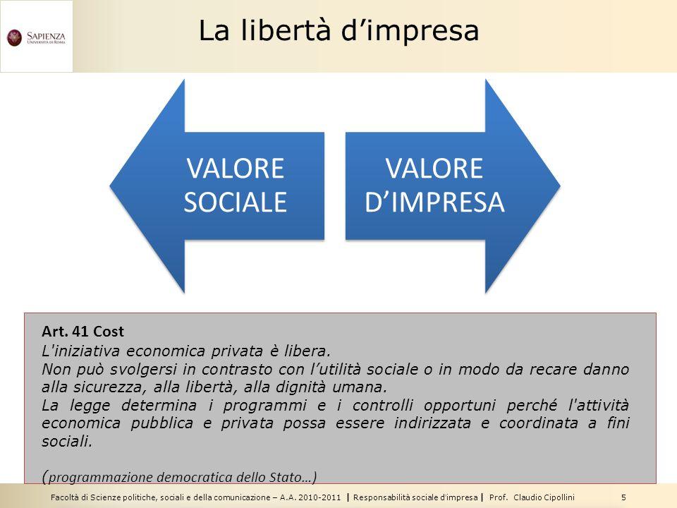 VALORE SOCIALE VALORE D'IMPRESA La libertà d'impresa Art. 41 Cost