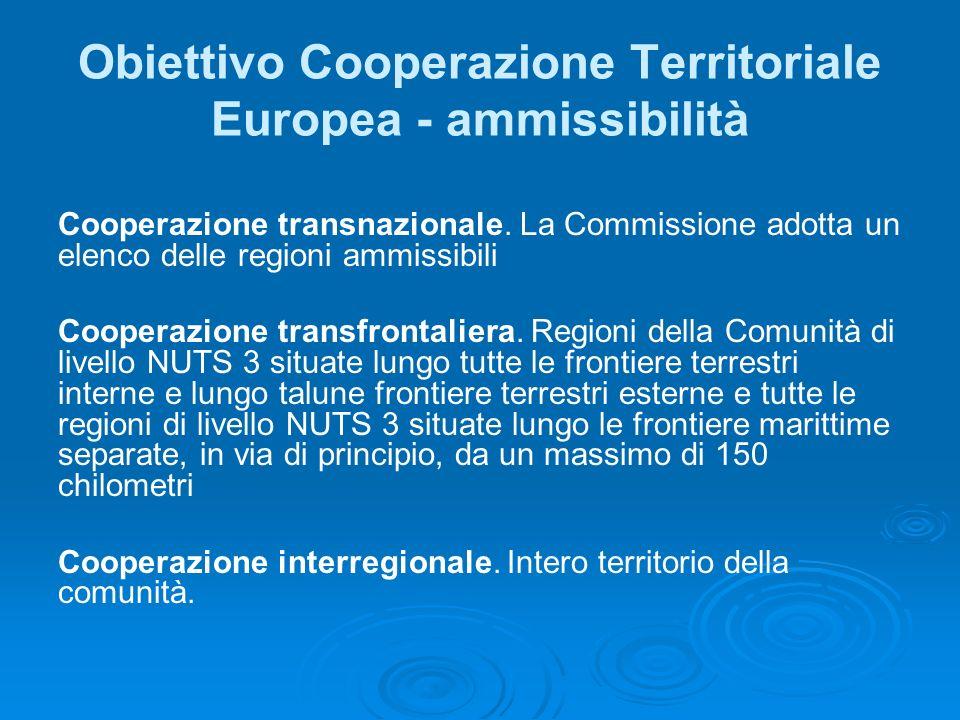 Obiettivo Cooperazione Territoriale Europea - ammissibilità