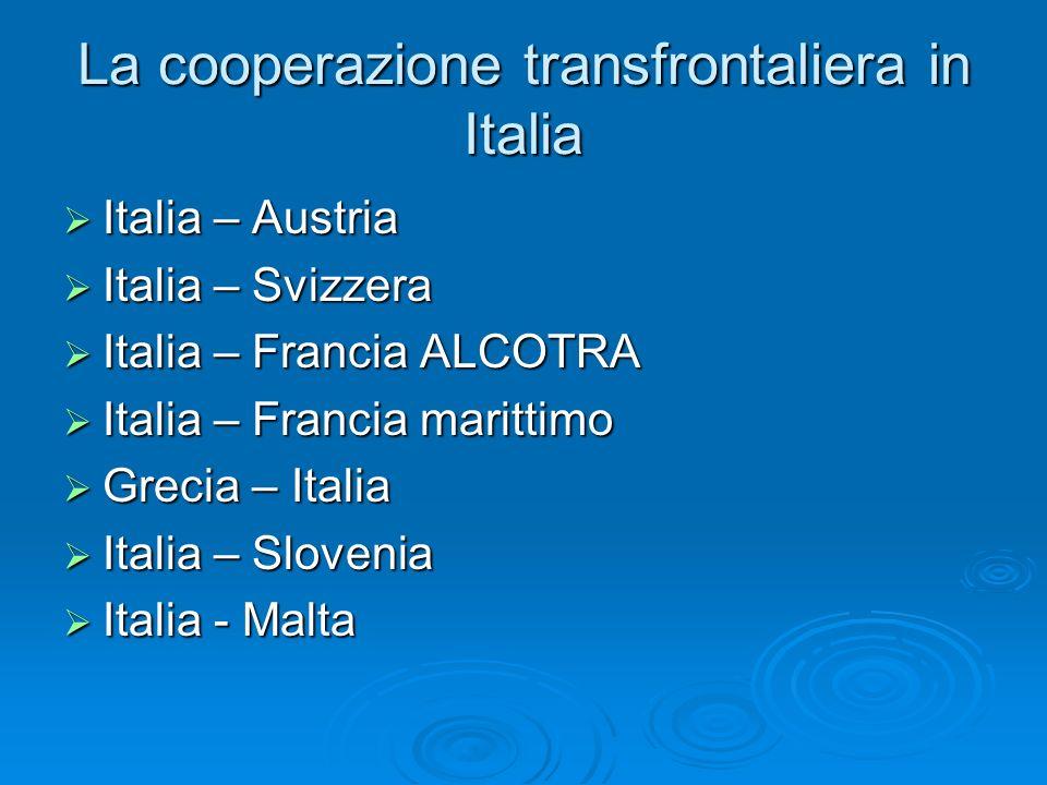 La cooperazione transfrontaliera in Italia