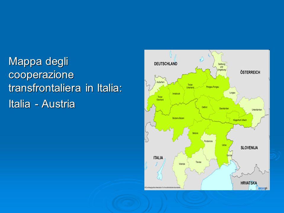 Mappa degli cooperazione transfrontaliera in Italia: